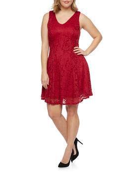 Plus Size Sleeveless Lace Skater Dress - BURGUNDY - 8475020625996