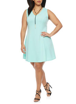 Plus Size Textured Skater Dress with Faux Suede Necklace - 8475020629652