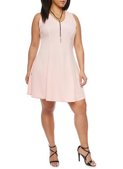 Plus Size Textured Skater Dress with Faux Suede Necklace - BLUSH - 8475020629652