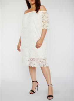 Plus Size Off the Shoulder Lace Midi Dress - IVORY - 8475054263476