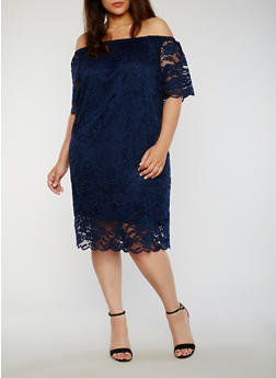 Plus Size Off the Shoulder Lace Midi Dress - 8475054263476