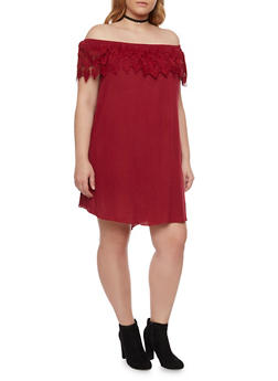 Plus Size Off The Shoulder Shift Dress with Crochet Overlay - 8475054264498