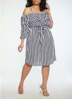 Plus Size Striped Off the Shoulder Dress - 8475056125505