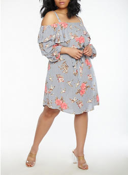 Plus Size Floral Stripe Off the Shoulder Dress - 8475056125559