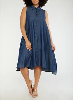 Plus Size Chambray Button Front Dress - 8475056127515