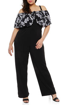 Plus Size Cold Shoulder Jumpsuit - 8475056129126
