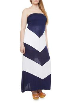 Plus Size Strapless Maxi Dress With Chevron Print,WHITE,medium