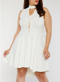 Plus Size Sleeveless High Low Dress with Necklace - IVORY - 8475058935236