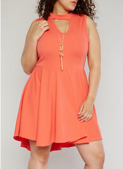 Plus Size Sleeveless High Low Dress with Necklace - 8475058935236