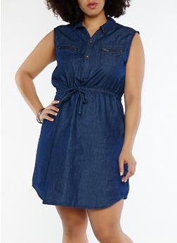 Plus Size Button Front Denim Dress - 8475064462347