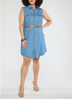 Plus Size Sleeveless Belted Denim Dress - 8475064462577