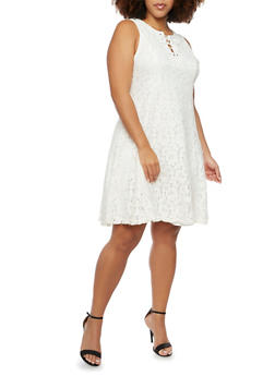 Plus Size Sleeveless Dress in Lace - 8475064462939