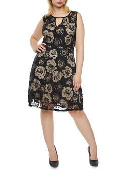 Plus Size Floral Skater Dress with Keyhole Cutout - 8475064462989