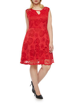 Plus Size Floral Skater Dress with Keyhole Cutout - 8475064462989