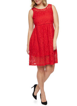 Plus Size Sleeveless Lace Skater Dress - 8475064462996