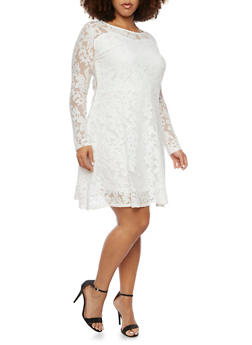 Plus Size Dress in Mesh Lace - 8475064463069