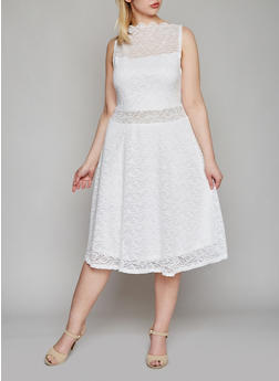 Plus Size Lace Skater Dress with High Scalloped Neck - WHITE - 8475064464335