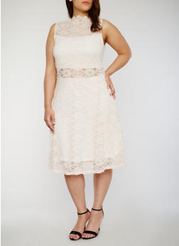 Plus Size Lace Skater Dress with High Scalloped Neck - BLUSH - 8475064464335