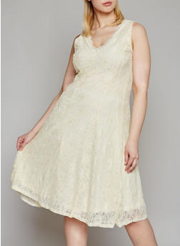 Plus Size Sleeveless Floral Lace Midi Dress - IVORY - 8475064464345