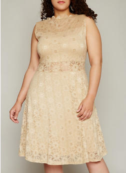 Plus Size Lace Skater Dress with High Scalloped Neck - 8475064467433