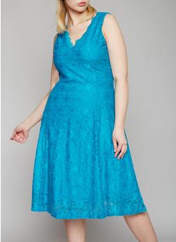 Plus Size Lace Skater Dress - 8475064467434