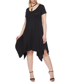 Plus Size Sharkbite Hem Dress with Tassel Choker - BLACK - 8475072241304