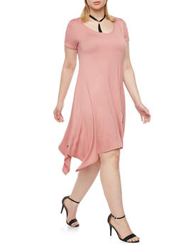 Plus Size Sharkbite Hem Dress with Tassel Choker - 8475072241304