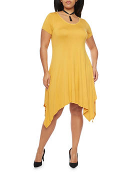 Plus Size Sharkbite Hem Dress with Tassel Choker - MUSTARD - 8475072241304