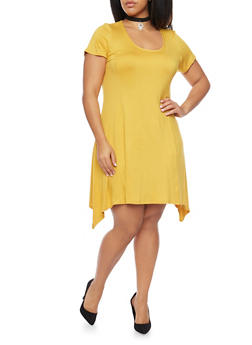 Plus Size Sharkbite Hem Dress with Choker Necklace - 8475072241329