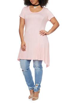 Plus Size Sharkbite Hem Dress with Choker Necklace - BLUSH - 8475072241329