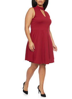 Plus Size Skater Dress with Choker Neck - 8475072241389