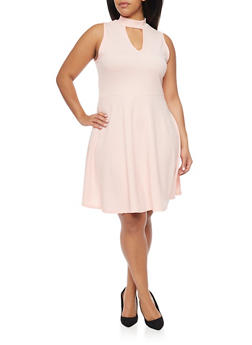 Plus Size Skater Dress with Choker Neck - PEACH - 8475072241389