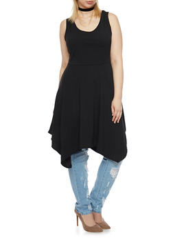 Plus Size Asymmetrical Dress with Choker Necklace - BLACK - 8475072241434