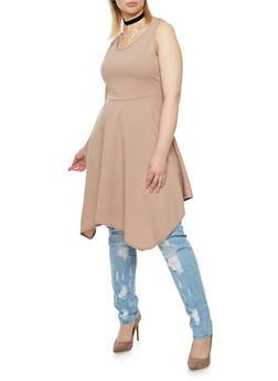Plus Size Asymmetrical Dress with Choker Necklace - 8475072241434