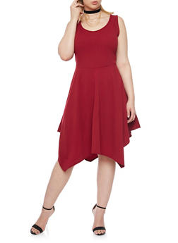 Plus Size Asymmetrical Dress with Choker Necklace - 8475072241434