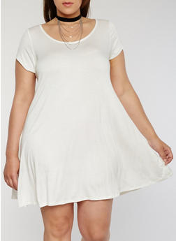 Plus Size Trapeze T Shirt Dress with Choker - IVORY - 8475072241481