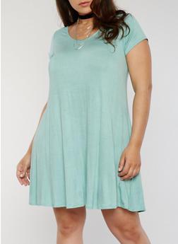 Plus Size Trapeze T Shirt Dress with Choker - 8475072241481