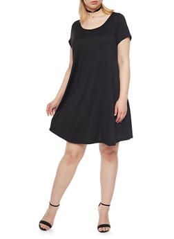 Plus Size Short Sleeve Swing Dress with Choker - BLACK - 8475072241487