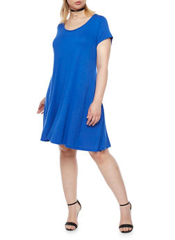 Plus Size Short Sleeve Swing Dress with Choker - 8475072241487
