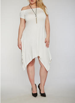 Plus Size Off the Shoulder Sharkbite Dress with Necklace - IVORY - 8475072241497