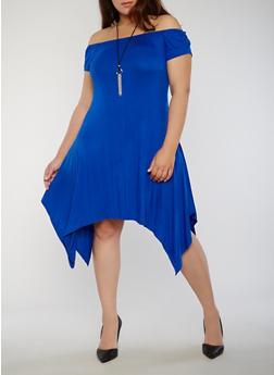 Plus Size Off the Shoulder Sharkbite Dress with Necklace - 8475072241497