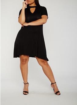 Plus Size Short Sleeve Keyhole Mock Neck Dress - BLACK - 8475072241559