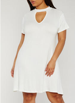 Plus Size Short Sleeve Keyhole Mock Neck Dress - IVORY - 8475072241559
