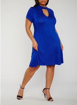 Plus Size Short Sleeve Keyhole Mock Neck Dress - 8475072241559