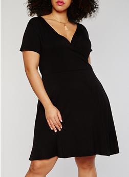 Plus Size Faux Wrap Dress with Necklace - 8475072241596