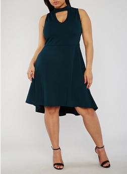 Plus Size Choker Skater Dress with Keyhole Necklace - 8475072241610