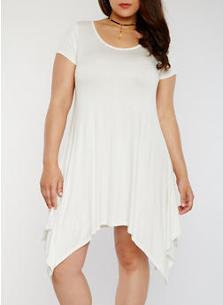 Plus Size Sharkbite T Shirt Dress with Choker - IVORY - 8475072243041