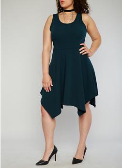 Plus Size Sharkbite Skater Dress with Choker Necklace - 8475072244341
