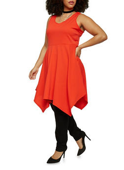 Plus Size Sharkbite Skater Dress with Choker Necklace - 8475072244341