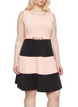 Plus Size Skater Dress With Color Block Textured Knit,ROSE,medium